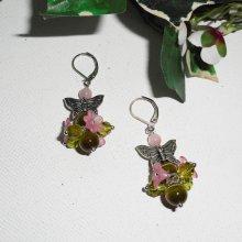 Boucles d'oreilles originales papillons argent et cristal rose et vert