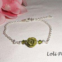 Bracelet  avec rose verte avec cristal de Swarovski sur argent 925