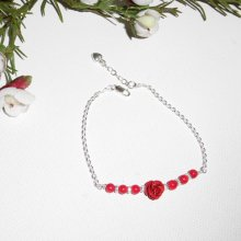 Bracelet rose sculptée avec perles en gorgone sur chaine argent 925