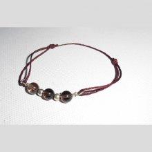 Bracelet en  pierres de quartz fumé avec perles en argent sur cordon réglable
