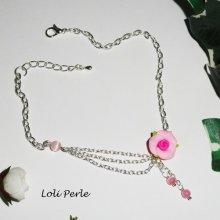 Bracelet/chaine de cheville rose rose et perles de verre