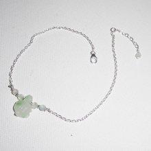 Bracelet/chaine de cheville avec tortue en jade verte et perles sur argent 925