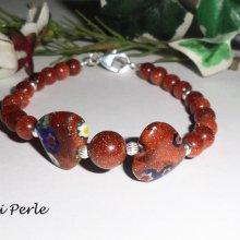 Bracelet en argent 925 avec coeurs et pierres d'agates marron