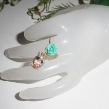 Bague originale rose en gorgone verte et hibou en strass