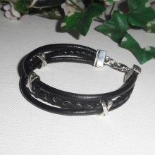 Bracelet cuir multi-rangs avec perles X et cuir tressé