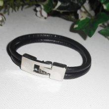 Bracelet cuir ceinture 2 rangs de cuir noir