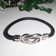 Bracelet cuir avec fermoir noeud aimanté