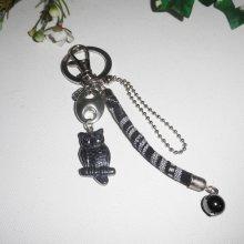 Porte clés pour homme avec hibou en pierre d'hématite corde et chaine