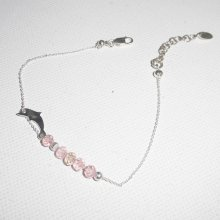 Bracelet original dauphin et perles en cristal rose sur chaine fine en argent 925
