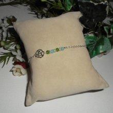 Bracelet original rose et petit cristal vert bleu sur chaine en argent 925