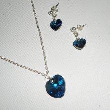 Parure Pendentif coeur bleu en cristal de Swarovski sur chaine argent 925