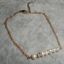 Bracelet petites perles de culture sur chaine plaqué or
