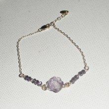 Bracelet en argent 925 avec rose d'améthyste sculptée et perles en cristal