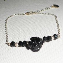 Bracelet en argent 925 avec rose en pierre d'onyx noire sculptée