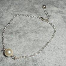 Bracelet en argent 925 avec perle de culture écru