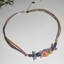 Collier perle fleurie multicolore avec perles en cristal sur cordon en coton ciré