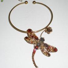 Collier original en métal soudé avec grande libellule en cristal marron et fleur