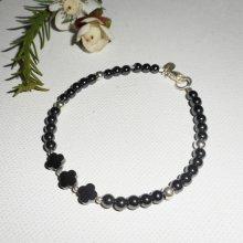 Bracelet original fleurs et petites pierres en hématite avec tubes argent 925