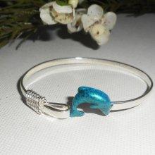 Bracelet original en argent 925 avec dauphin coloré en bleu