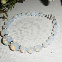 Bracelet  perles en pierres de lune sur argent 925