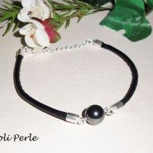 Bracelet pierre d'hématite sur cuir noir et argent 925