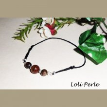 Bracelet pierre oeil de tigre et perles argent sur cordon