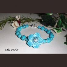Bracelet fleur céramique bleue et pierres de turquenite argent 925