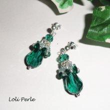 Boucles d'oreilles argent 925 tissées en cristal de Swarovski vert