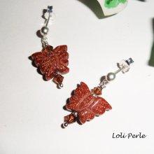 Boucles d'oreilles argent 925 papillons en agate marron et cristal