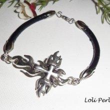Bracelet homme croix argent sur cuir noir