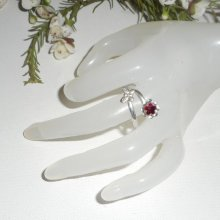 Bague originale en argent 925 avec fleur cristal et papillon