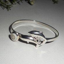 Bracelet avec double dauphins et oeil de Ste Lucie en argent 925