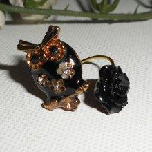 bague hibou avec rose noire