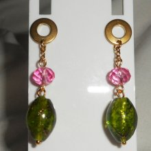 Boucles d'oreilles en verre et cristal vertes et rose