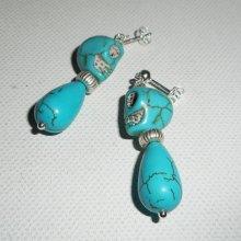 Boucles d'oreilles argent 925 avec pierres en howlite tête de mort et goutte