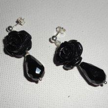 Boucles d'oreilles argent 925 avec roses noires et gouttes en cristal de bohème