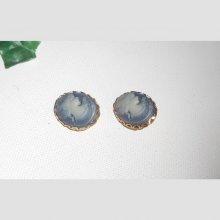 Boucles d'oreilles camé bleu sur clips