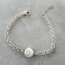 Bracelet en oeil de ste Lucie sur grosse chaine argent 925