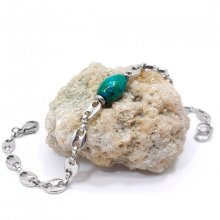 Bracelet pierre rubizolite bleu sur chaîne grain de café en acier