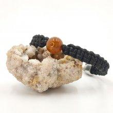 Bracelet corde tissée avec agate marron