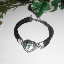 Bracelet  cuir  multi-rangs avec coeur en abalone