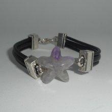 Bracelet cuir multi-rangs avec étoile en pierre d'améthyste mauve