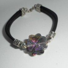 Bracelet cuir noir  multi-rangs avec trèfle en cristal