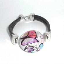 Bracelet cuir noir multi-rangs avec palet de nacre décoré mauve
