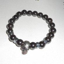 Bracelet en pierres d'hématite avec tête de mort en argent pour homme