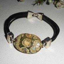 Bracelet homme cuir multi-rangs avec pierre en rhyanite verte