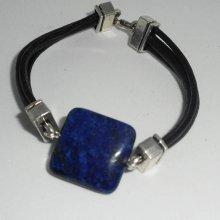Bracelet homme cuir multi-rangs avec pierre en lapis lazzuli bleu