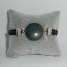 Bracelet homme cuir multi-rangs avec pierre en jaspe bleue