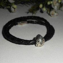 Bracelet cuirtressé avec bouddha