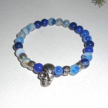 Bracelet en pierres d'agates bleues et tête de mort en argent